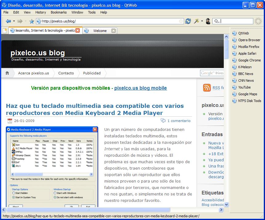 QTWweb - Interfaz