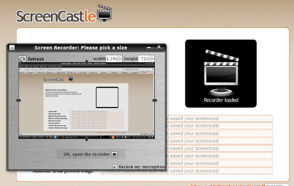 ScreenCastle - Interfaz
