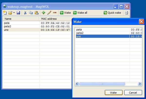 MagiWol - Interfaz