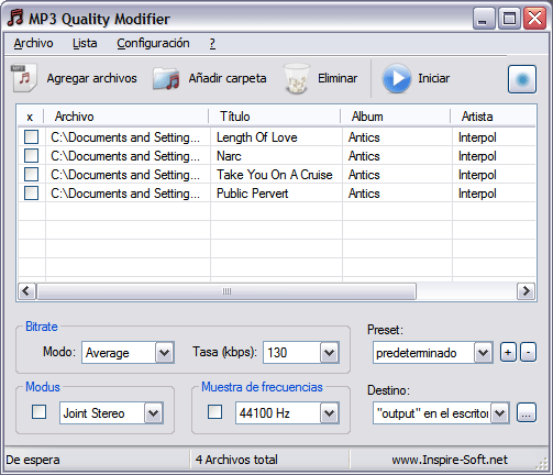 MP3 Quality Modifier - interfaz