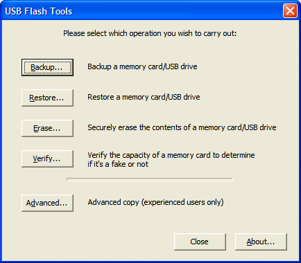 USB Flash Tool - Interfaz