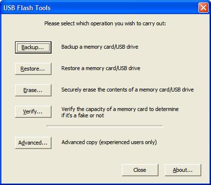 USB Flash Tool - Interfaz