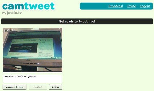 camtweet-interfaz CamTweet - Transmitir video en vivo en Twitter