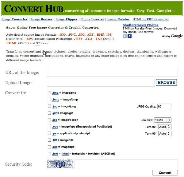 converthub-interfaz ConvertHub - Convertidor de imágenes online