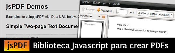 jspdf jsPDF - Biblioteca Javascript para crear PDFs