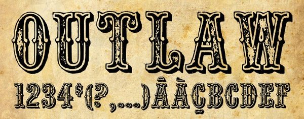 Wild West Outlaw 10 Hermosas tipograf&#...