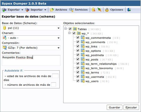 Sypex Dumper 2 - Interfaz