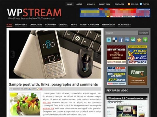 wpstream-wordpress-theme 13 Themes gratis para Wordpress del 2010