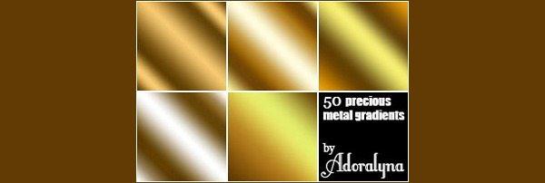 Golden Metal Gradients - Brushes Photoshop
