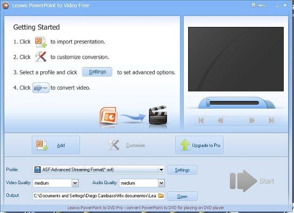 Leawo PowerPoint to video - interfaz