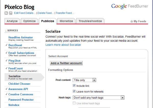 Google-FeedBurner 3 Opciones para publicar un feed en Twitter