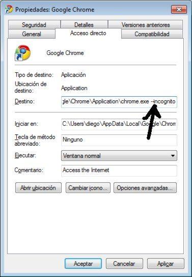 Google-Chrome-Propiedades-del-acceso-directo Cómo forzar a Chrome, Firefox, Opera e IE a que inicien en modo de navegación privada