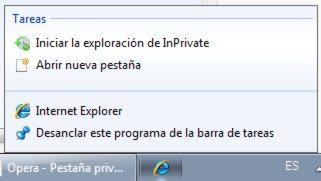 IE-Iniciar-en-modo-InPrivate-desde-la-barra-de-tareas-de-Widnows-7 Cómo forzar a Chrome, Firefox, Opera e IE a que inicien en modo de navegación privada