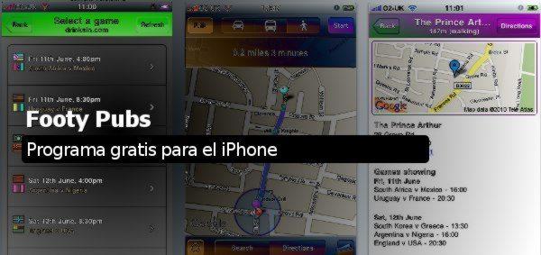 Footy Pubs - Programa gratis para el iPhone