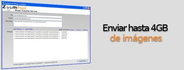 ZoomFoot - Eviar hasta 4GB de imaǵenes