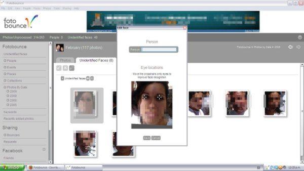 FotoBunce Interfaz - Reconocimiento de rostro