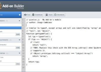 Add-on Builder - Capturta de pantalla del editor