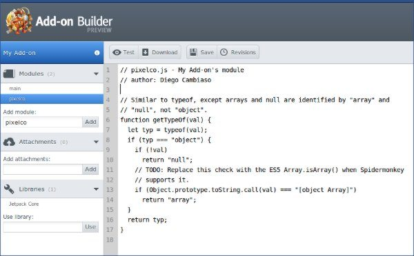 Add-on Builder - Capturta de pantalla del editor