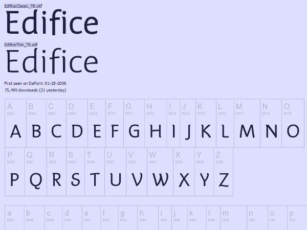 Edifice font