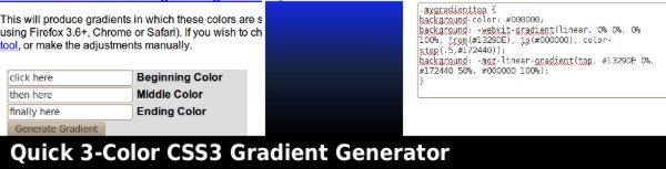 Quick 3-Color CSS3 Gradient Generator
