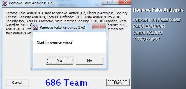 Remove Fake Antivirus - programa freeware para eliminar virus falsos y troyanos
