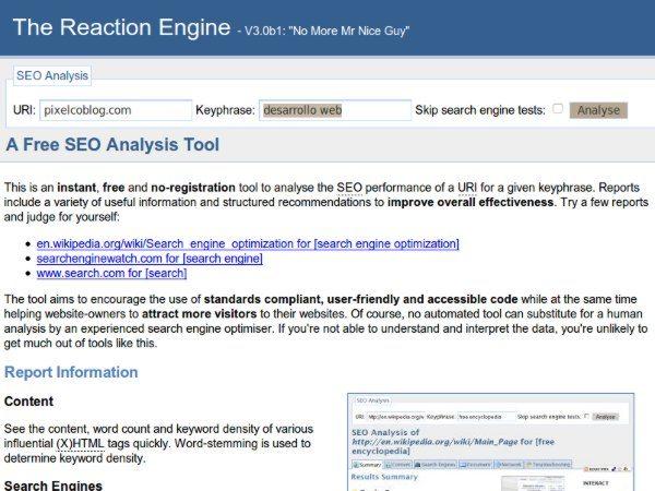 The Reaction Engine - herramienta SEO
