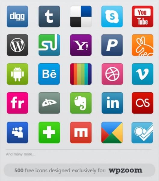 WPZOMM Free Social Icons Set - Sample