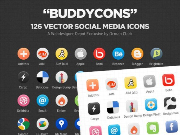Buddycons vector social icons set
