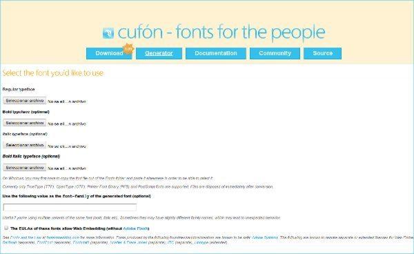 Cufon - Herramienta web para trabajar con tipgorafias