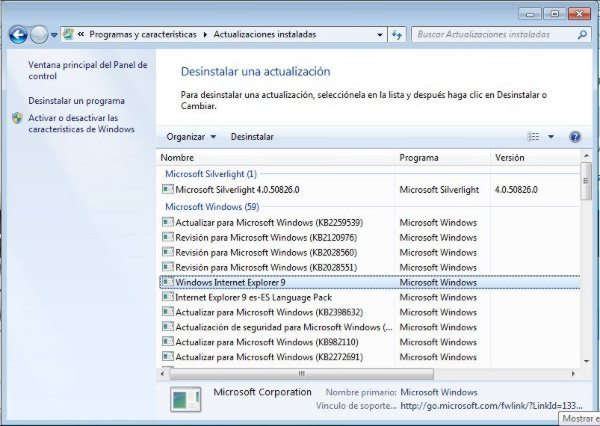 Desinstalar Windows Internet Explorer 9
