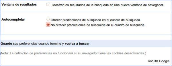 Google Instant - Desactivar autocompletar
