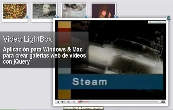 Video LightBox - Programa gratis para Windows y Mac para crear galerías de video con jQuery