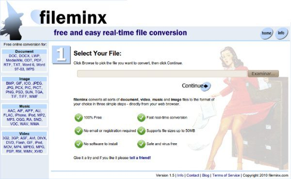 fileminx convertidor online de archivos de audio, video, imagenes y documentos