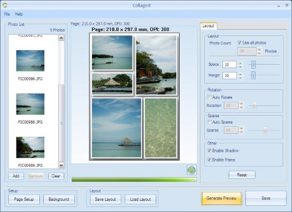 CollageIt - Aplicacion gratis para Windows para crear collage de fotos