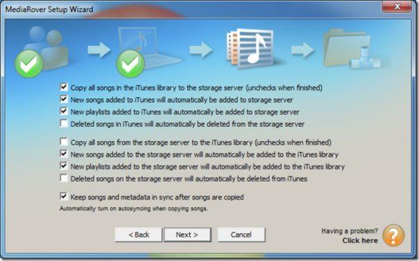 MediaRover - opciones de sincronizacion
