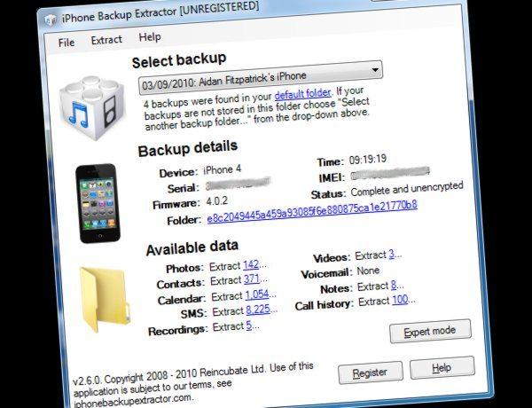 iPhone Bakcup Extractor - Aplicacion gratis para el iPhone