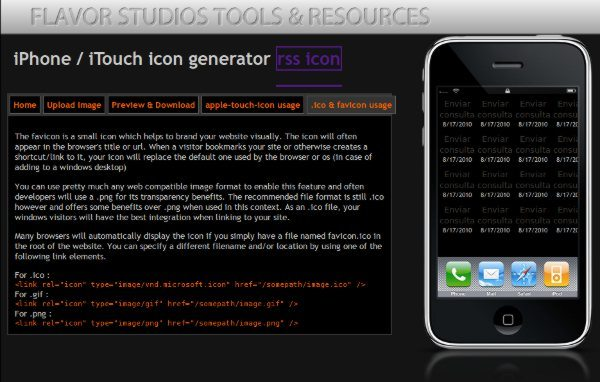 iPhone icon generator - servicio web