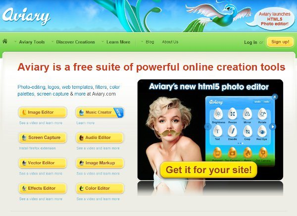 Aviary Editor de fotos HTML5