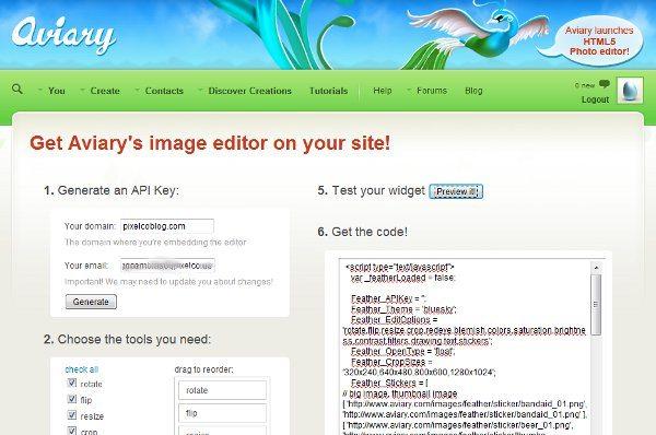 Aviary - HTML5 editor de fotos online para agregar a cualquier sitio web