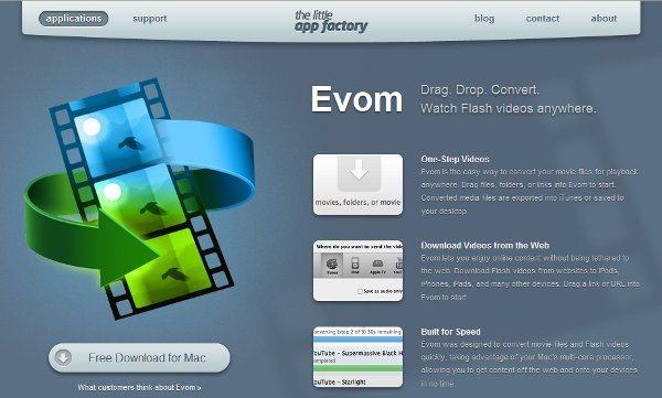 Evom aplicacion gratis para Mac para convertir videos