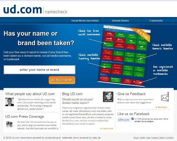UD.com Namecheck - Servicio web para comprobar disponiblidad de nombres de usuarios
