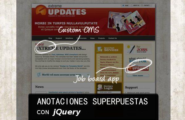 Anotaciones superpuestas con jQuery