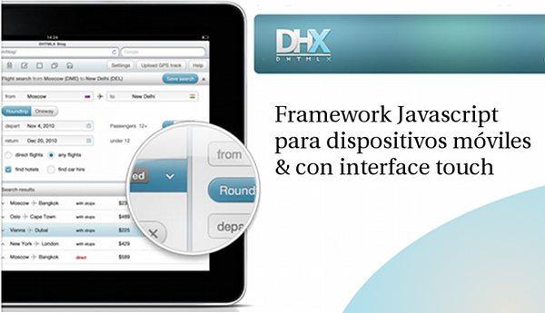 DHTMLX - framework Javascript para dispositivos moviles con interfaz touch