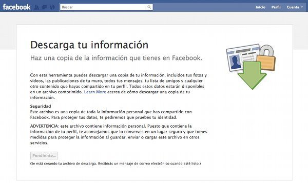 Facebook - Descargar información