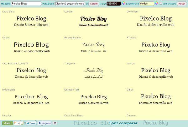 FontComparer - herramienta online para comparar fuentes tipograficas