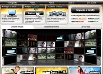 Megalive servicio online para streaming de video desde la webcam