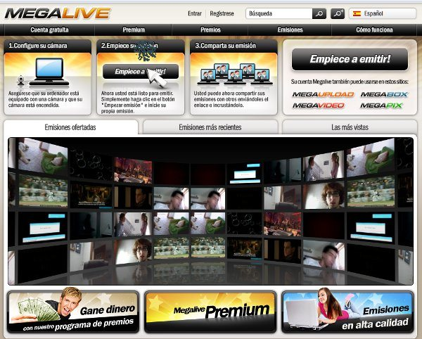 Megalive servicio online para streaming de video desde la webcam