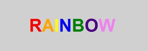 Rainbow - efecto con Lettering.js