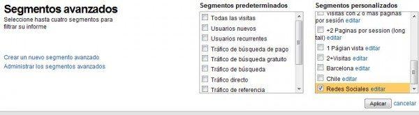 Segmento Avanzado - Redes Sociales - tutorial Google Analytics