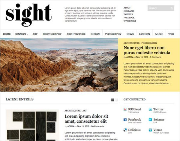 Sight-free-WordPress-theme 10 Themes WordPress de diseños minimalistas, colores claros y modernos